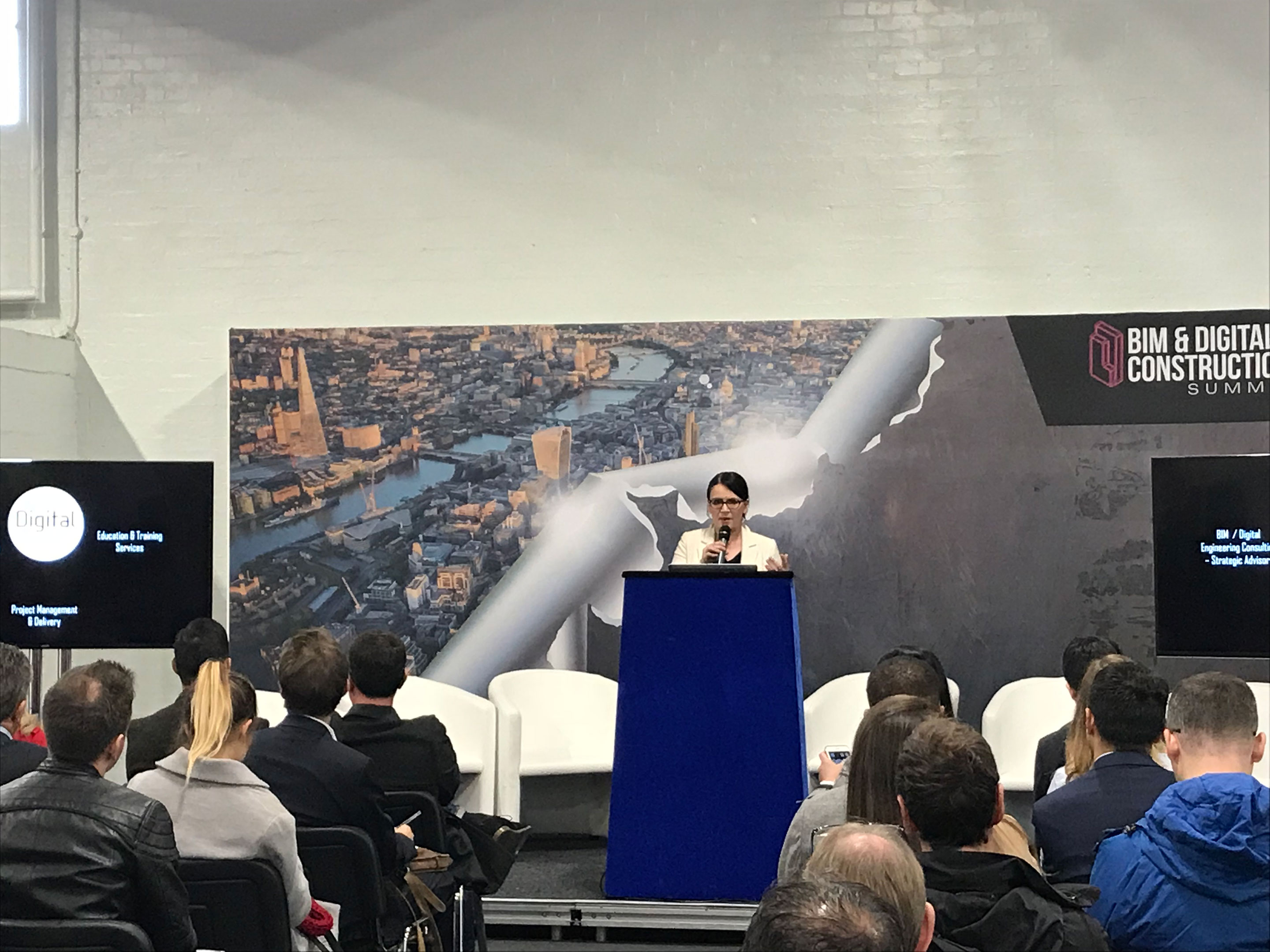 Digital Node's Director, Rebecca De Cicco, speaking at a construction event