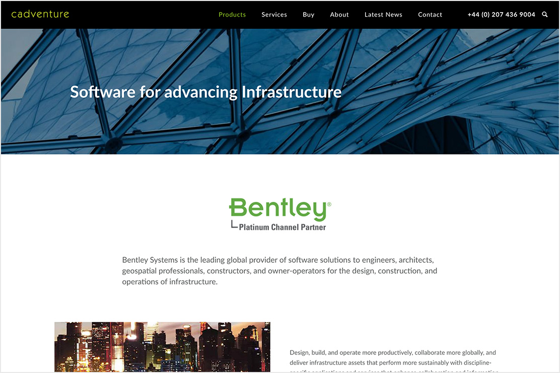 The Bentley Systems product section of the Cadventure website